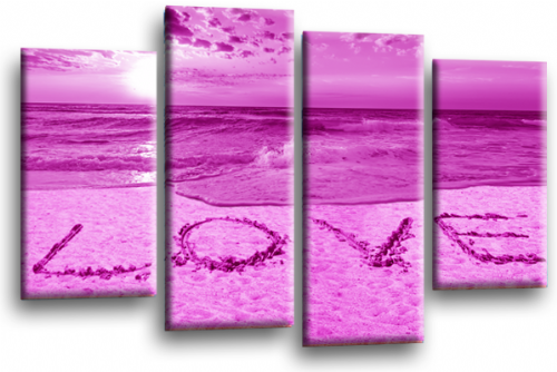 Seascape Sunset Love Quote Purple White Wall Art Picture Print